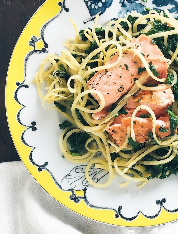 Salmon with Rutabaga Noodles & Herb Shallot Sauce {aip, paleo, gluten-free}