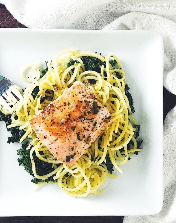 Salmon with Rutabaga Noodles & Shallot Herb Sauce {AIP, paleo, gluten-free}