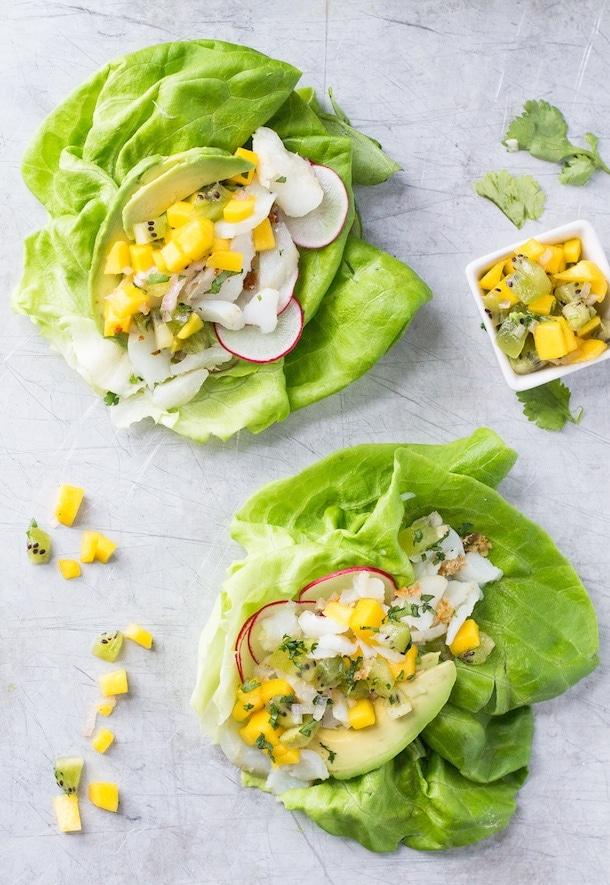 Fish Taco Lettuce Wraps w/ Mango Kiwi Salsa {AIP, Paleo}
