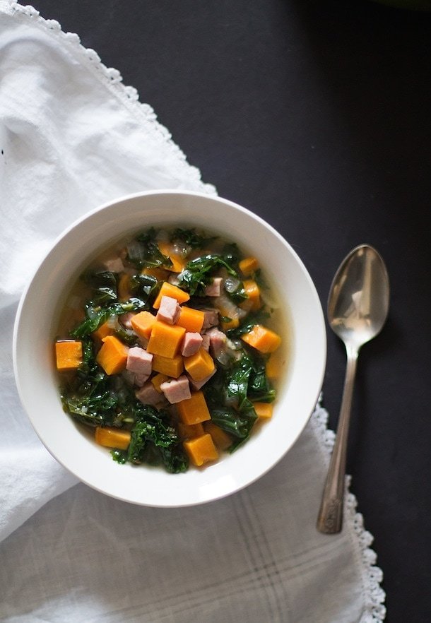 Sweet Potato, Ham & Kale Soup with Rosemary | Paleo, AIP, Gluten-Free