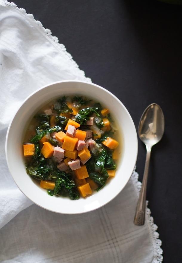 Cozy Sweet Potato Ham And Kale Soup