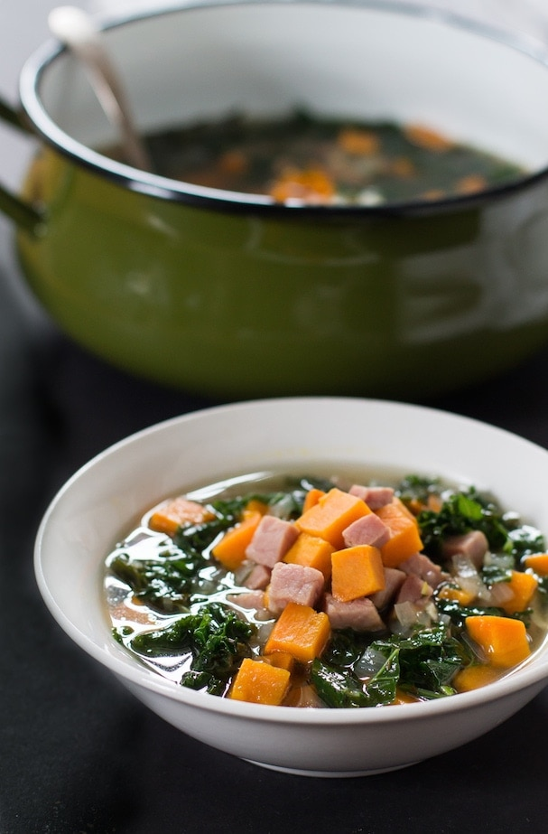 Ham, Sweet Potato & Kale Soup | Paleo, Whole30