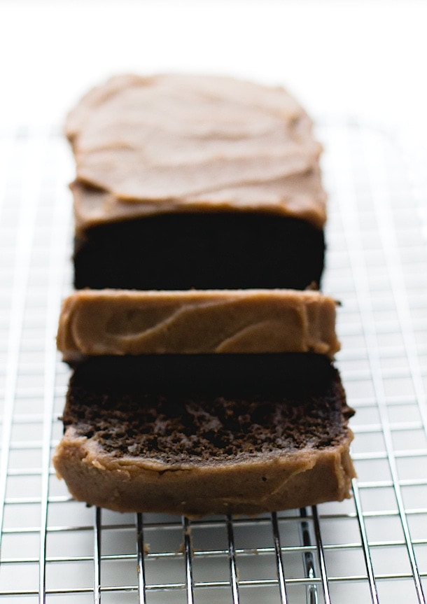 Chocolate Carob Bread with Date Caramel Frosting ~ via heartbeet kitchen {paleo, egg-free}
