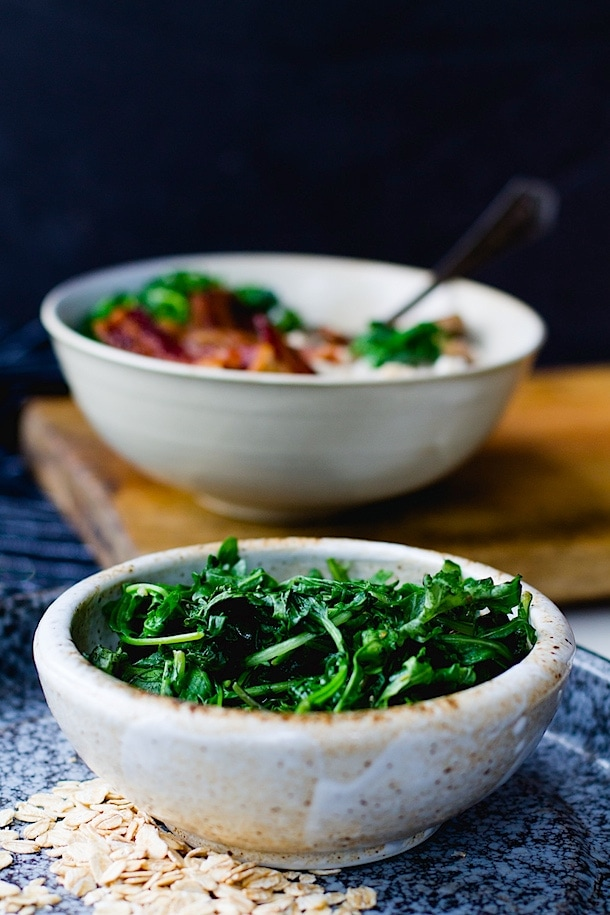 Savory Oatmeal with Garlicky Greens and Bacon {heartbeet kitchen blog}