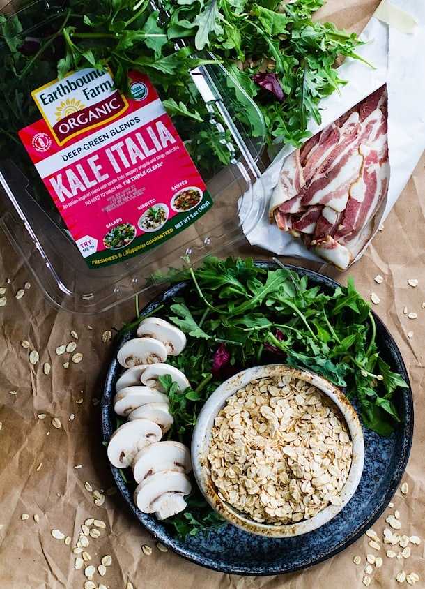 Savory Oatmeal with Garlicky Greens and Bacon {with Earthbound Farm}