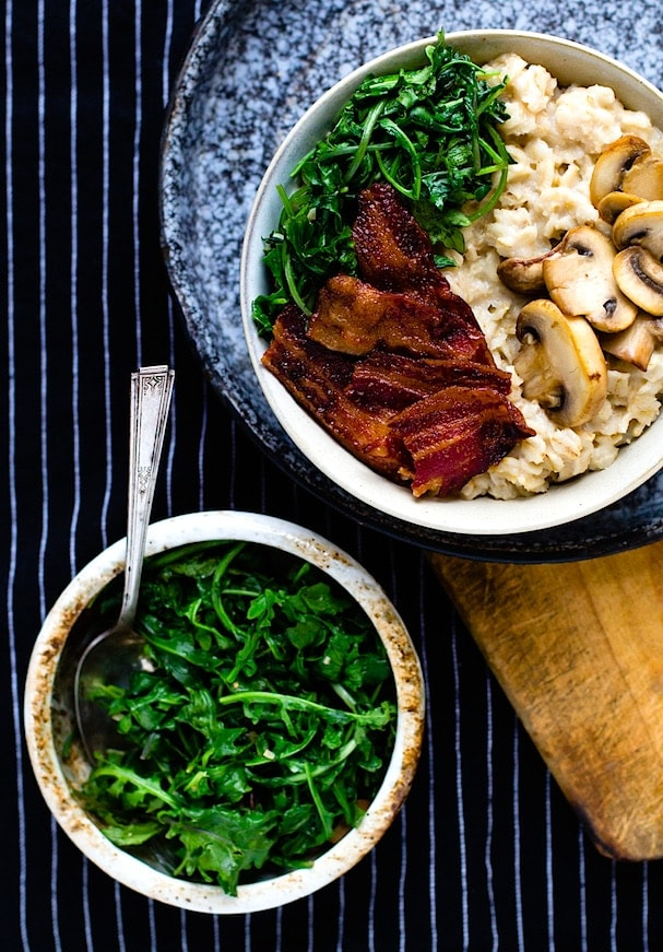Savory Oatmeal with Garlicky Greens, Bacon and Mushrooms (heartbeet kitchen blog)