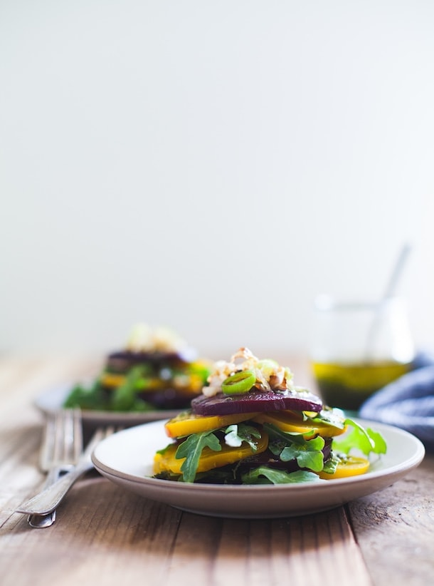 Stacked Beet Salad with Crispy Shallots + Herb-Infused Oil {paleo, vegan}