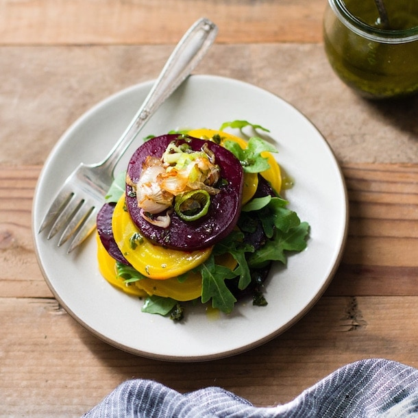 Stacked Beet Salad with Crispy Shallots & Herb-Infused Oil {paleo, AIP, vegan}