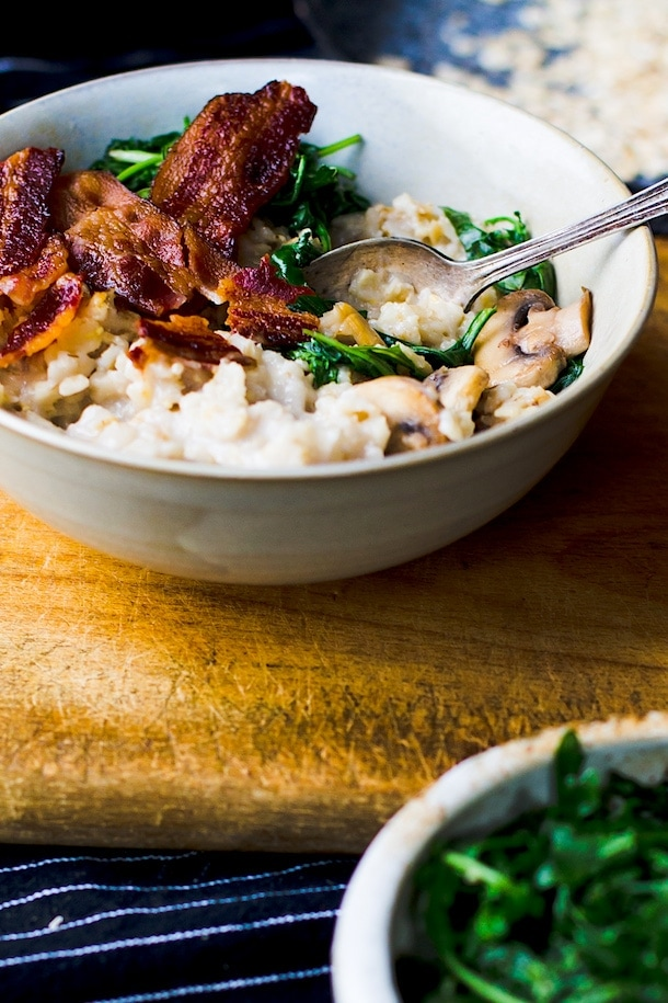 Savory Oatmeal with Garlicky Greens & Bacon {recipe}