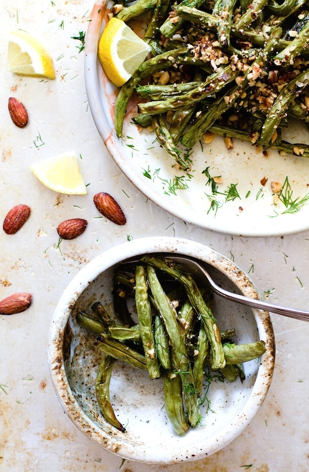 Blistered Green Beans with Crushed Almonds & Dill {via heartbeet kitchen}
