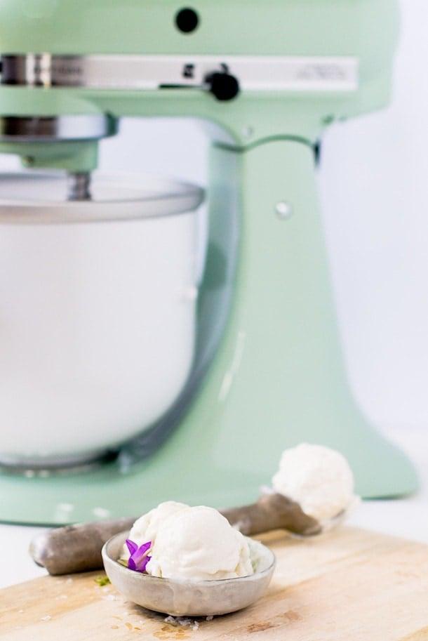 Salty Honey Ice Cream (made with KitchenAid Ice Cream Maker Attachment)