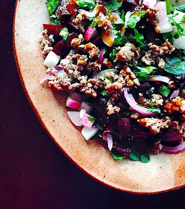Lamb, Radish & Beet Salad with Curry Fig Dressing {paleo}