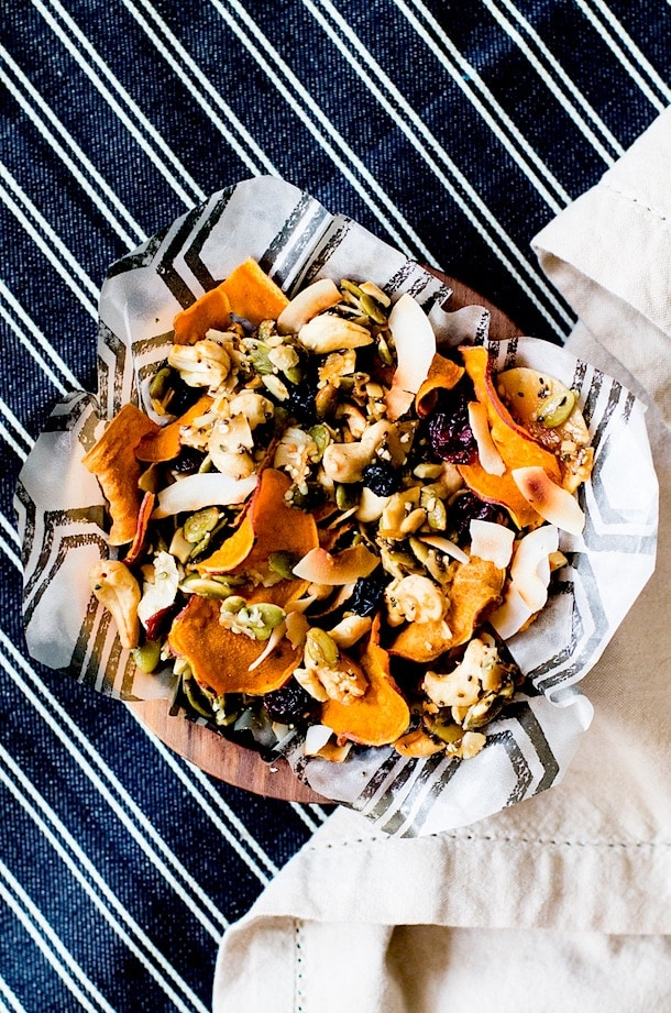 Honey Nut Cluster & Sweet Potato Chip Snack Mix {paleo} via heartbeet kitchen blog