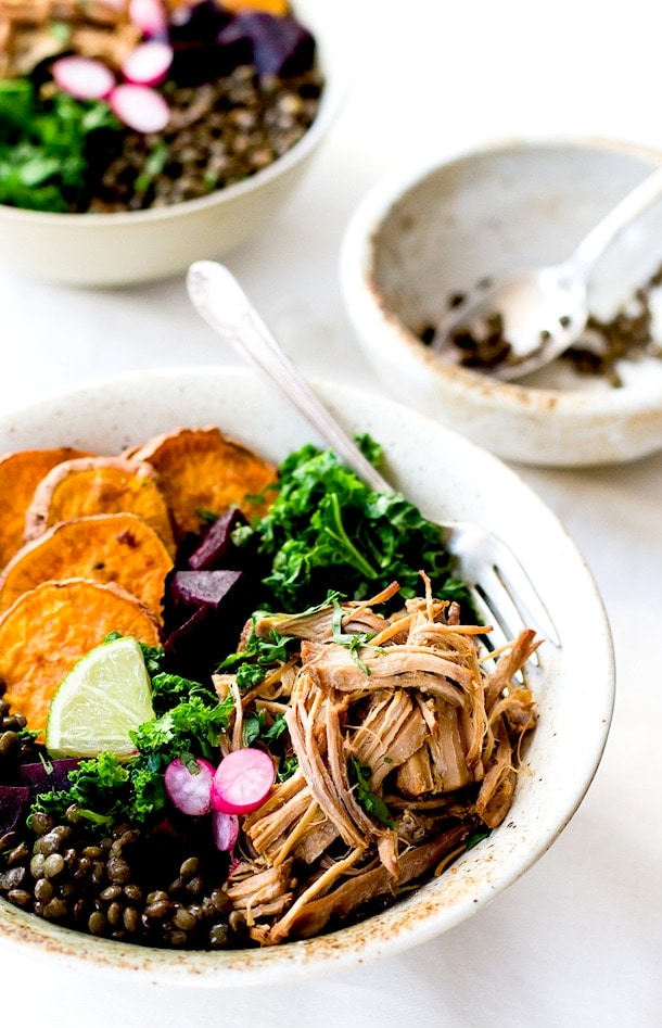 Cuban Pulled Pork & Rainbow Lentil Bowls