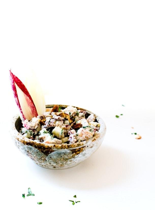 Crunchy, Creamy Fall Chicken Salad with Apples & Pecans {gluten-free}