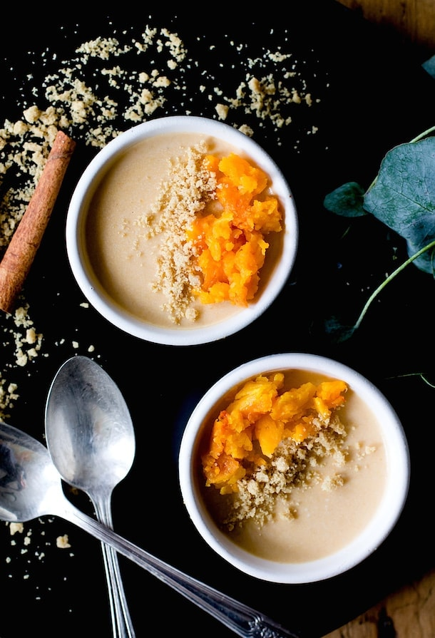 Maple Butternut Squash Panna Cotta with Cinnamon Crumble {via @amandapaa}