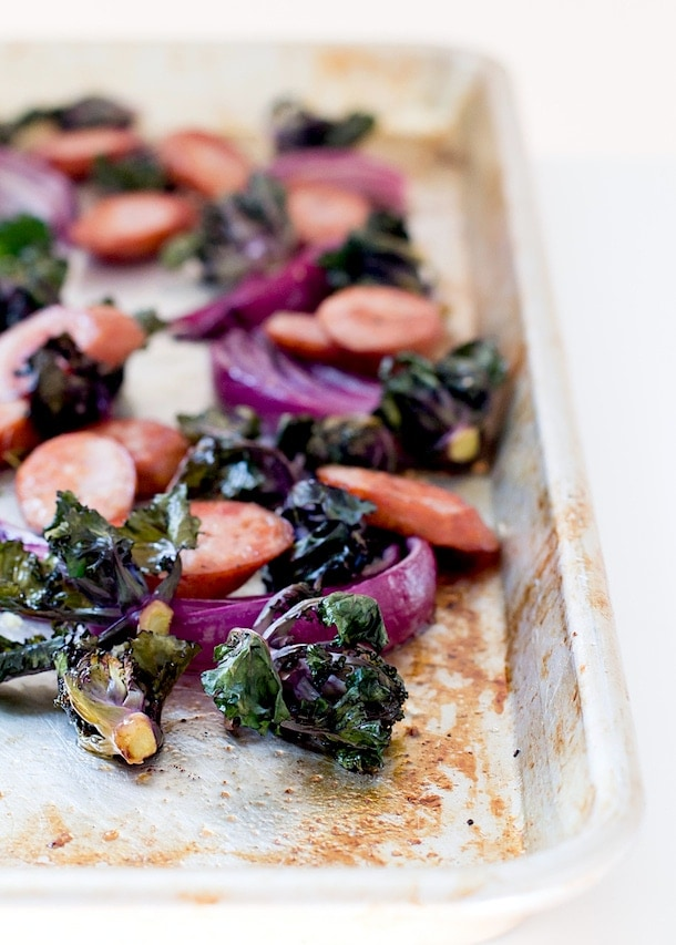 Chicken Sausage, Kalette, and Red Onion Sheet Pan Supper {paleo}