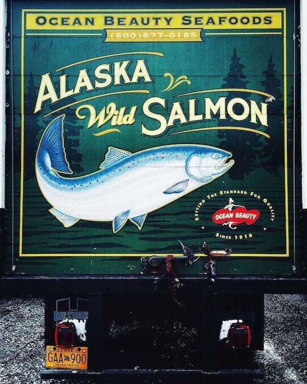 truck art, alaska wild salmon