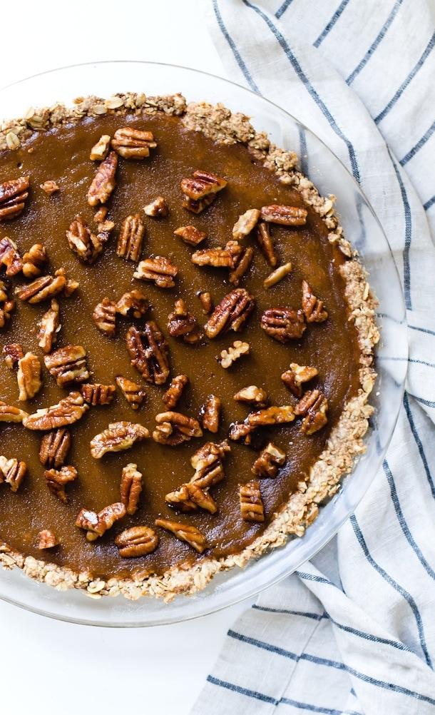 Winter Squash Pie with Candied Pecans {gluten-free, dairy-free}