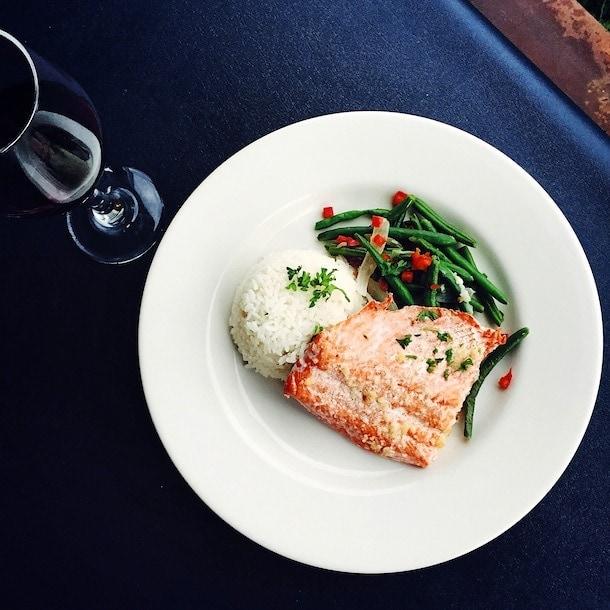 Sockeye Salmon dinner ~ Reluctant Fisherman Inn, Cordova Alaska