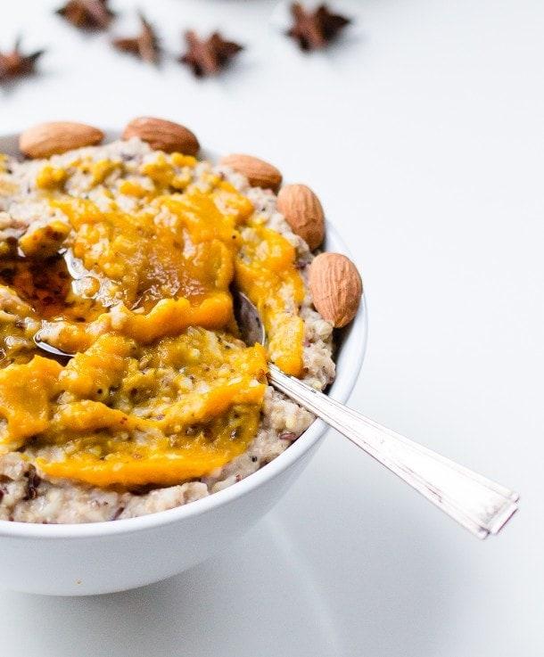 Chai Porridge with Roasted Kabocha Squash (vegan)