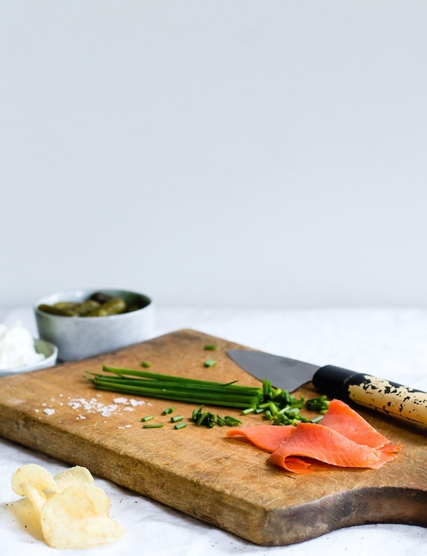 Easy Smoked Salmon & Horseradish Ricotta Potato Chip Bites