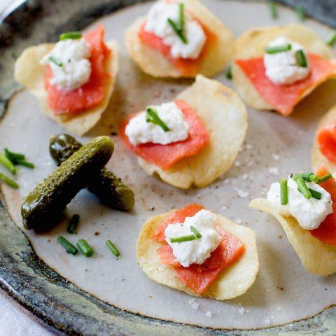Smoked Salmon & Horseradish Crema Potato Chip Bites