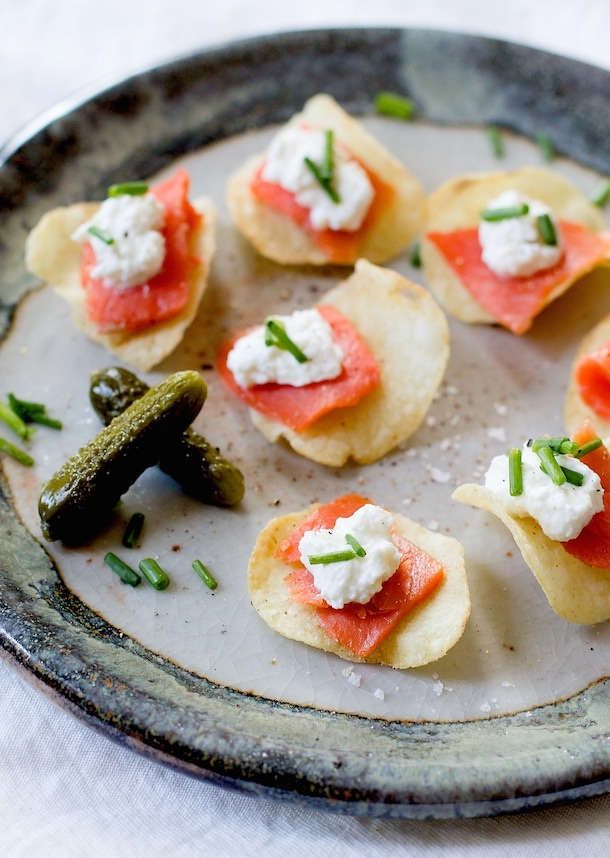 Smoked Salmon & Horseradish Crema Potato Chip Bites