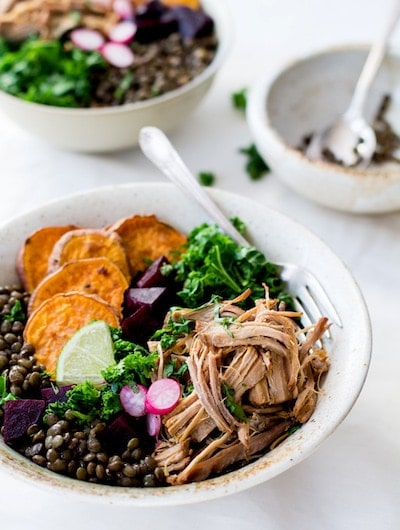Citrus Shredded Pork + Lentil Bowl