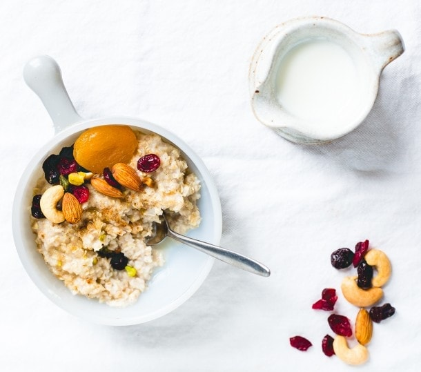 Gluten-Free Oatmeal with Trail Mix & Maple Syrup
