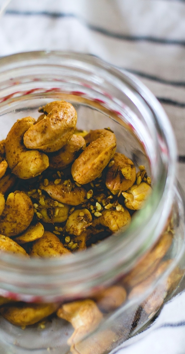 Sesame Curry Cashews {roasted with coconut oil}