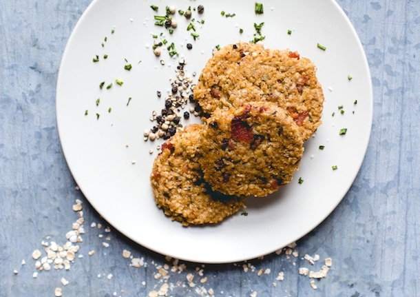 Bacon Oatmeal Fritters with Avocado