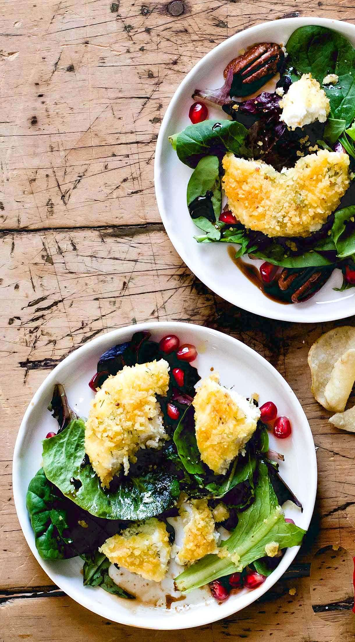 Crispy Potato Chip Crusted Goat Cheese ~ warm cheese is the best!