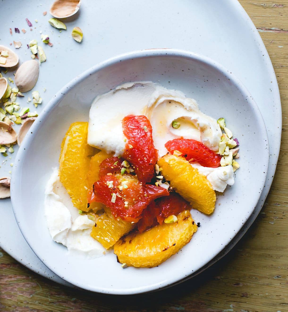 Roasted Citrus Bowl with Pistachios & Honey Mascarpone