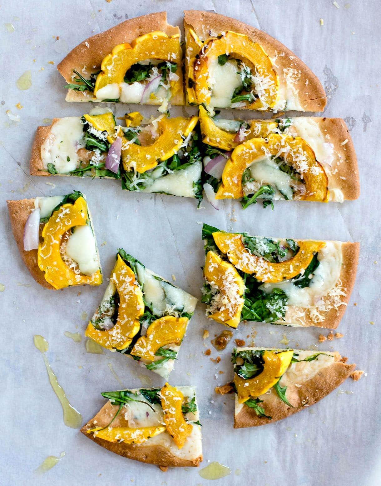{gluten-free} Winter White Pizza with Delicata Squash & Gouda