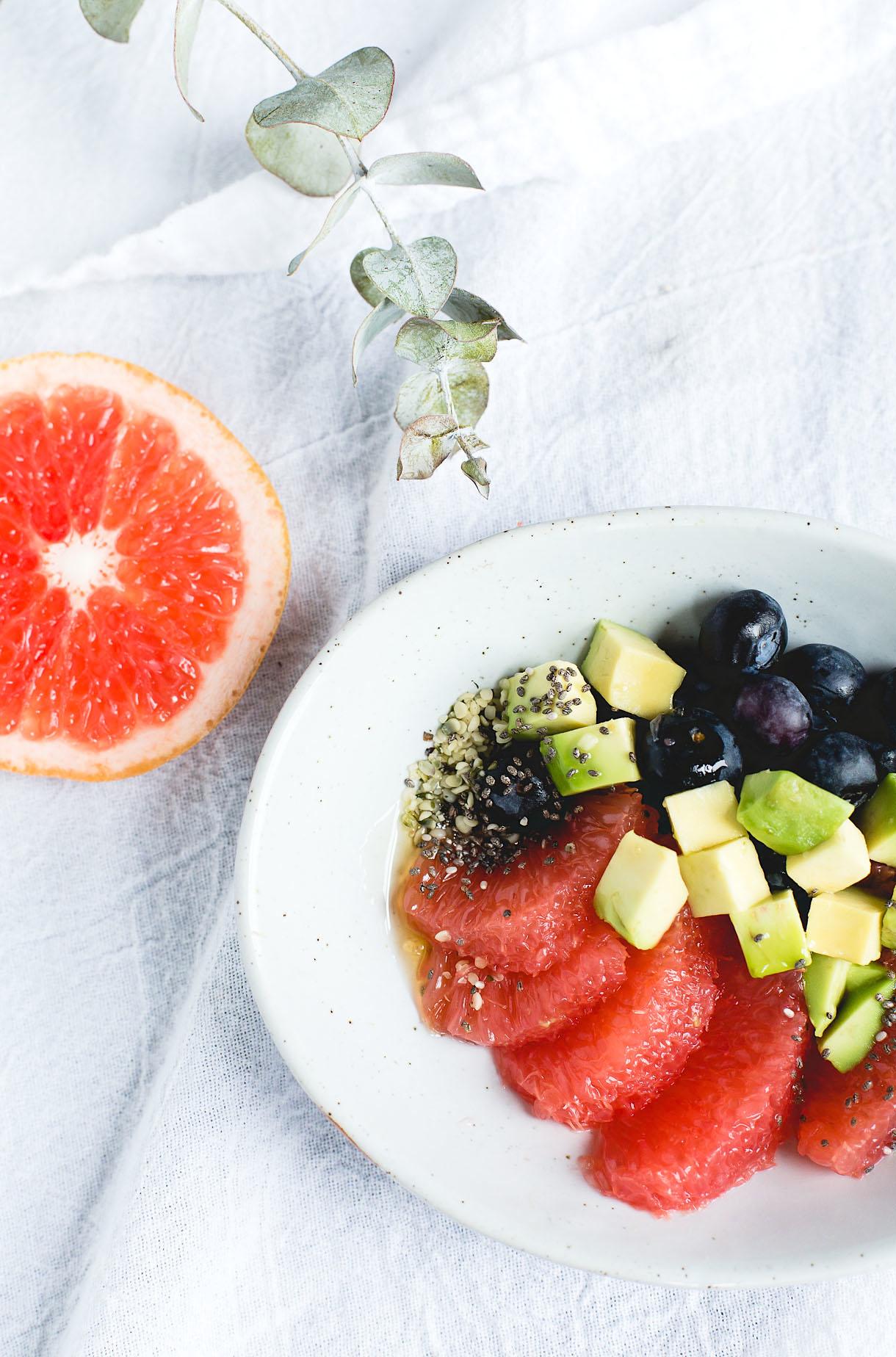 Super Sparklin' Fruit Salad with Avocado + Seeds