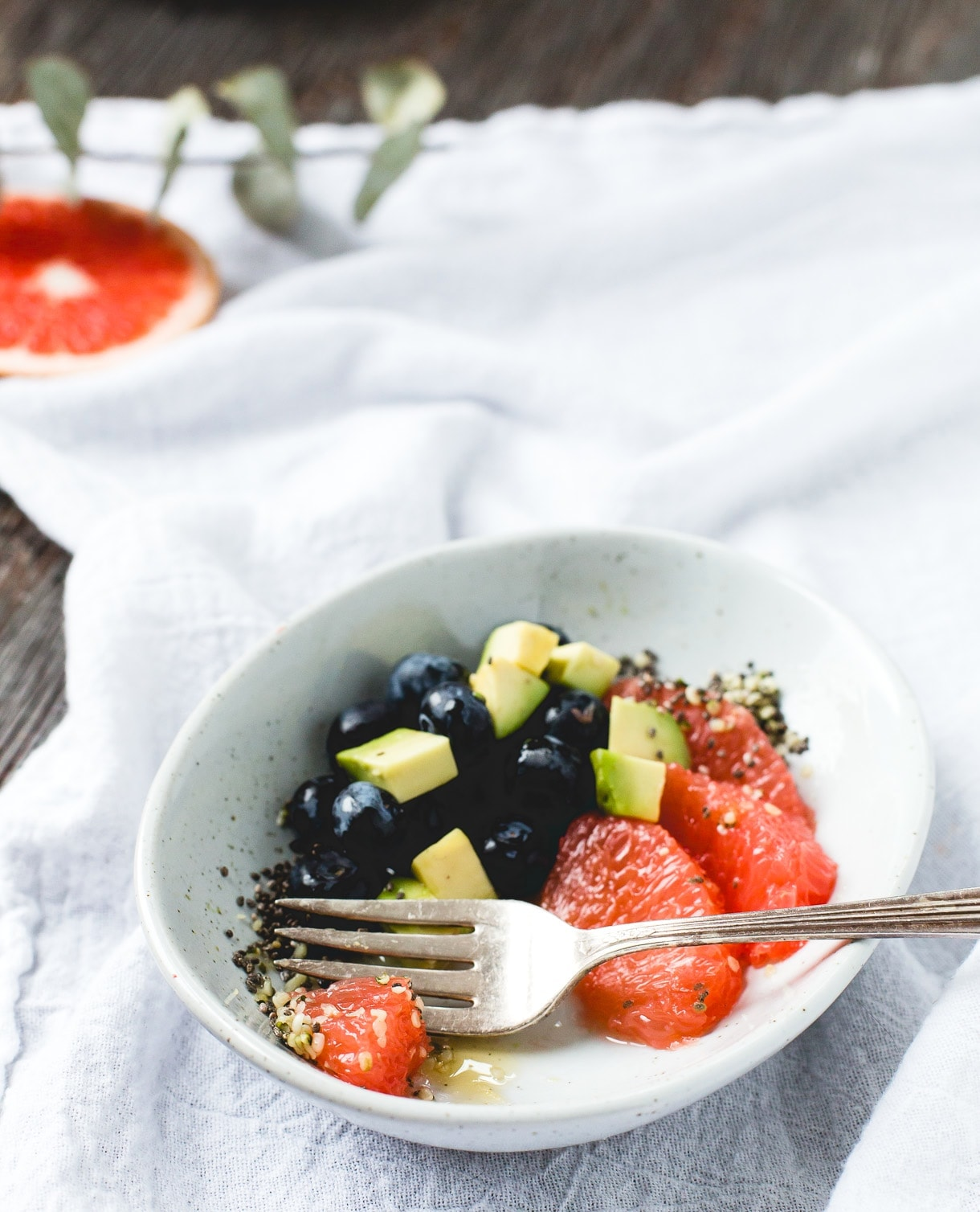 Sparkling Fruit Salad with Avocado & Super Seeds