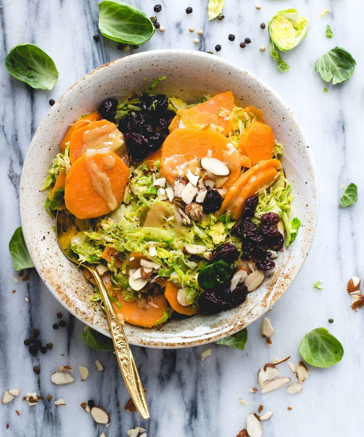 Warm Brussels Sprouts & Sweet Potato Salad with Maple Mustard ...