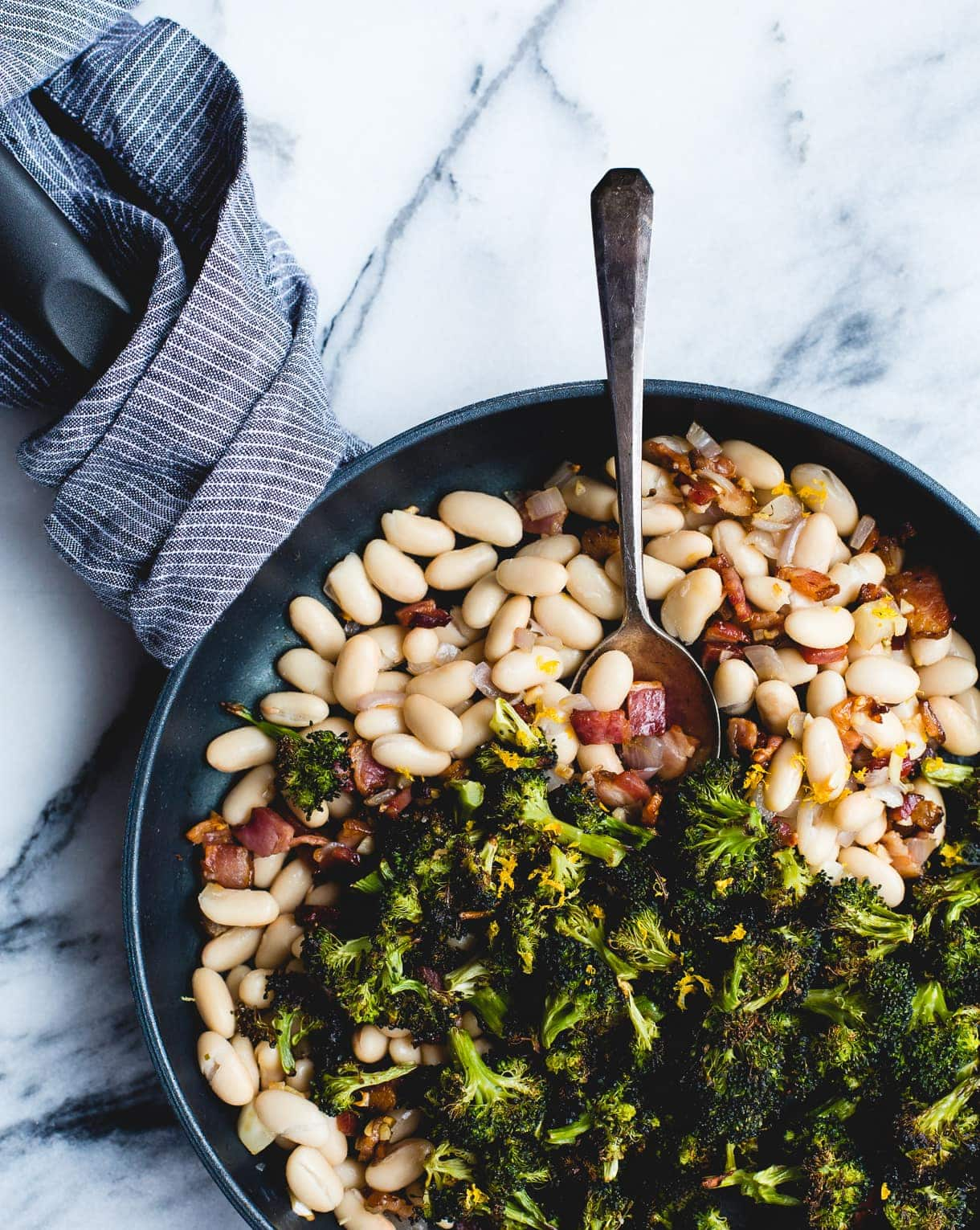 Roasted Broccoli and Lemony White Beans with Bacon {via heartbeet kitchen}
