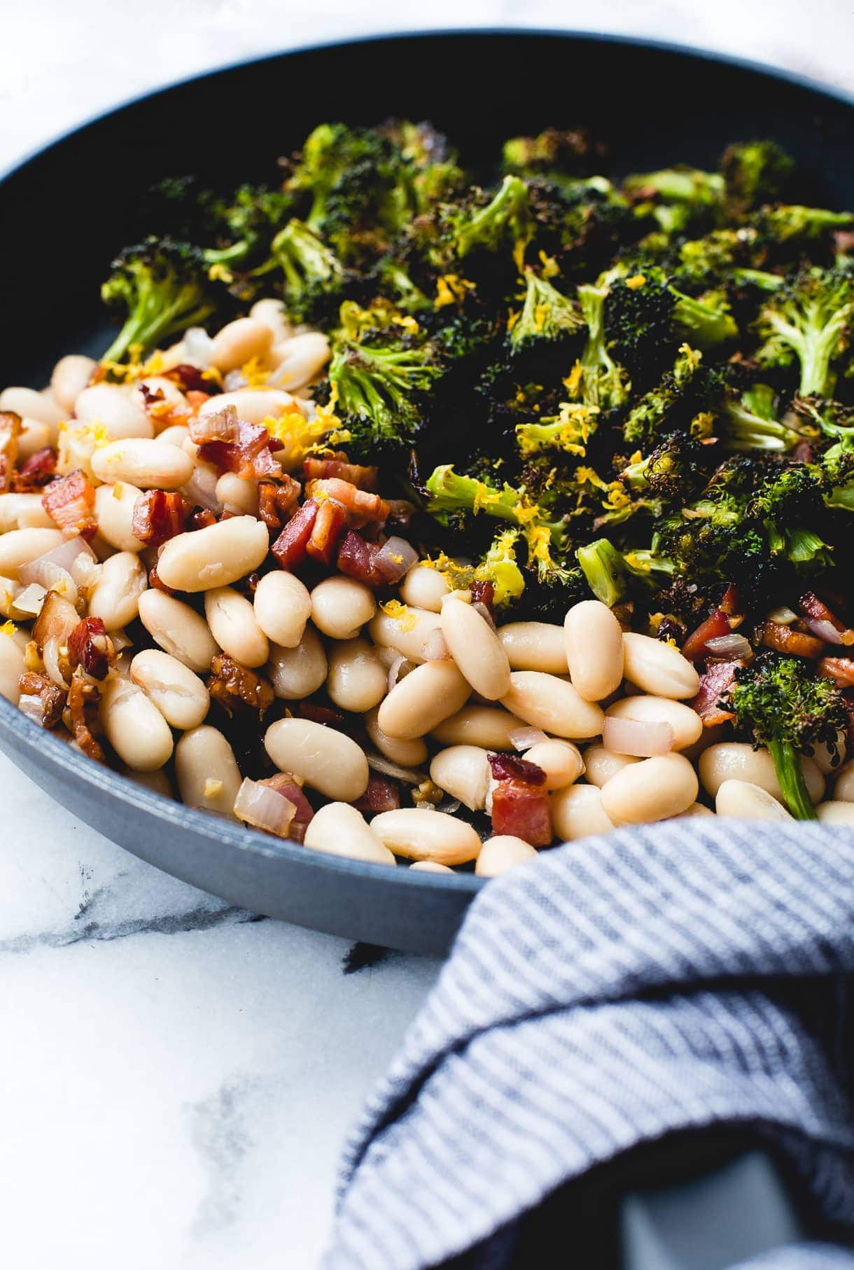 Great Northern Beans Recipe with Lemon Roasted Broccoli and Bacon