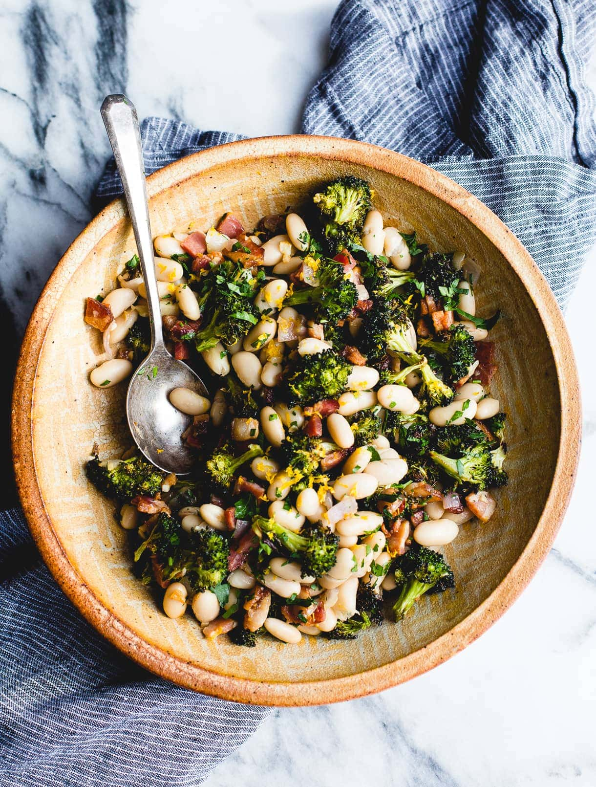 Lemon Roasted Broccoli with Bacon and Great Northern Beans Recipe