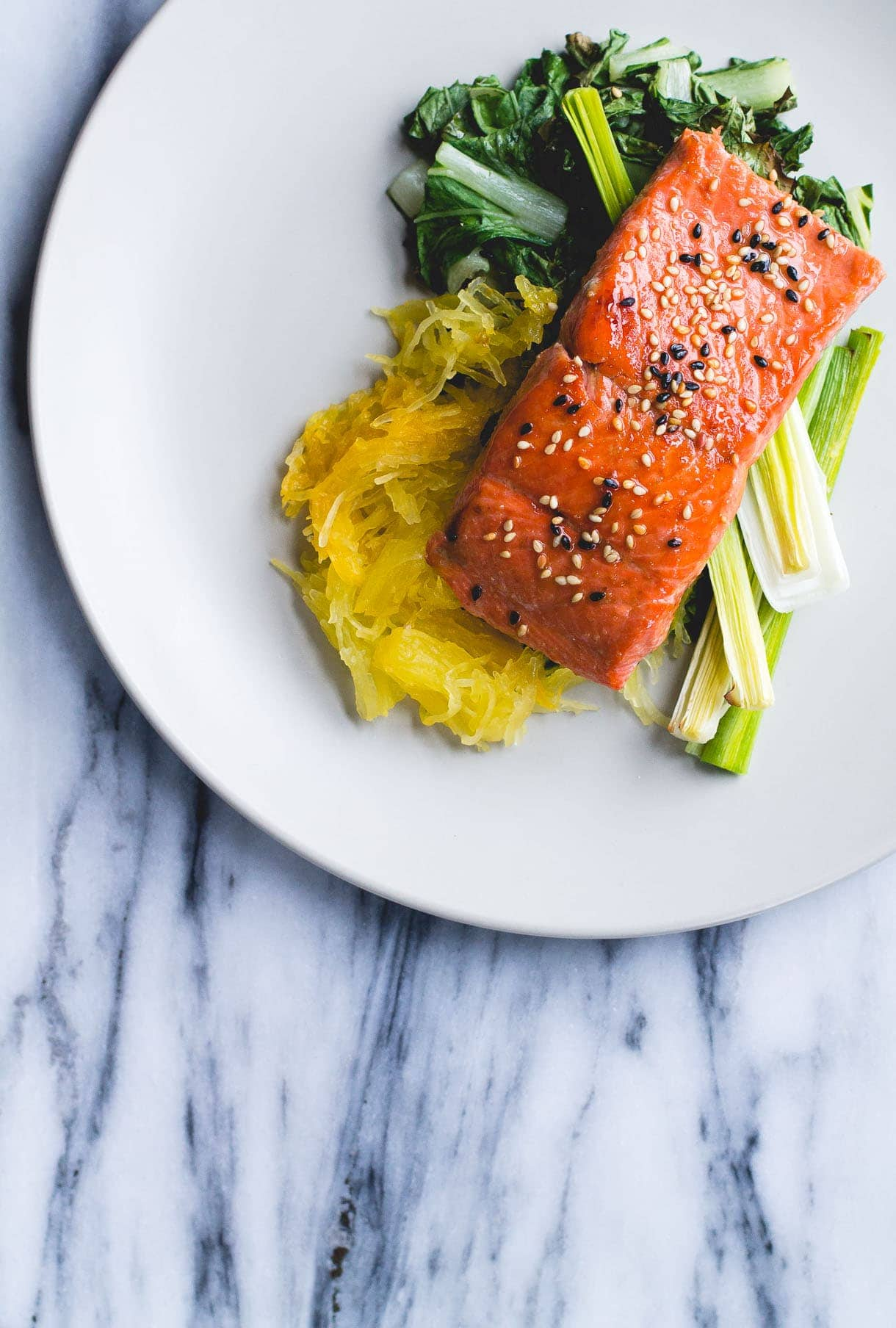 Sesame Salmon with Roasted Leeks & Spaghetti Squash {via heartbeet kitchen}