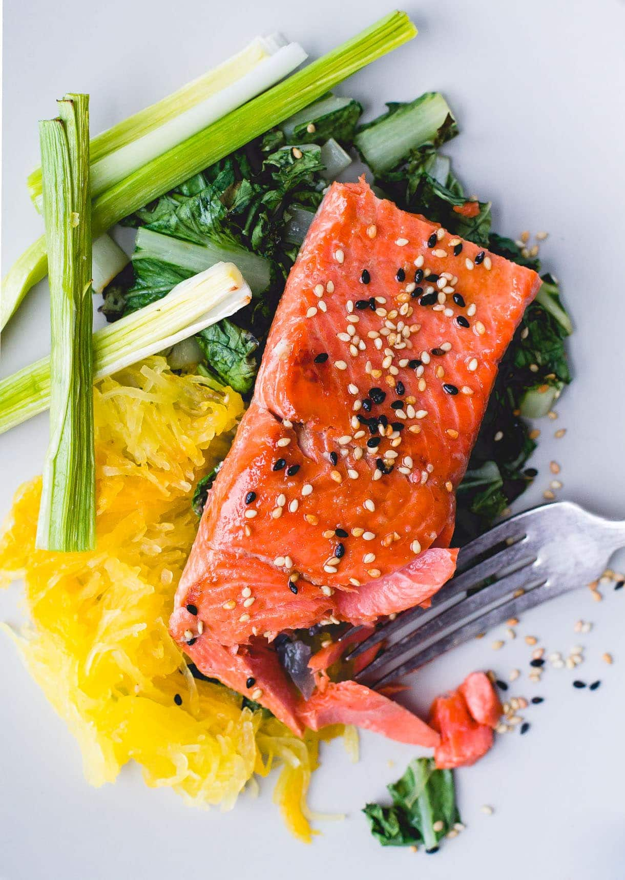 Gluten-Free Sesame Salmon with Spaghetti Squash & Roasted Leeks {via heartbeet kitchen}