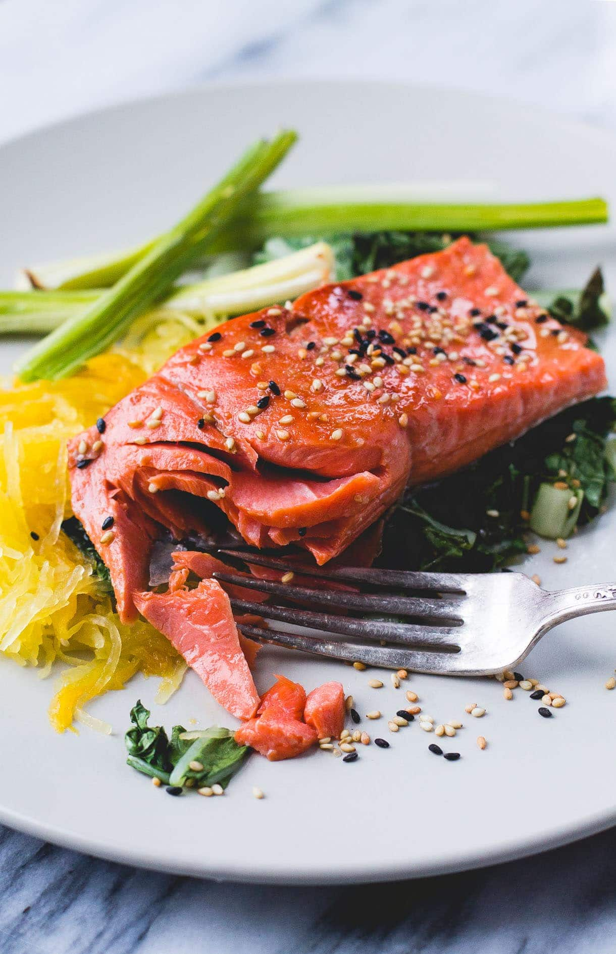 Sesame Salmon with Spaghetti Squash & Roasted Leeks {via heartbeet kitchen}