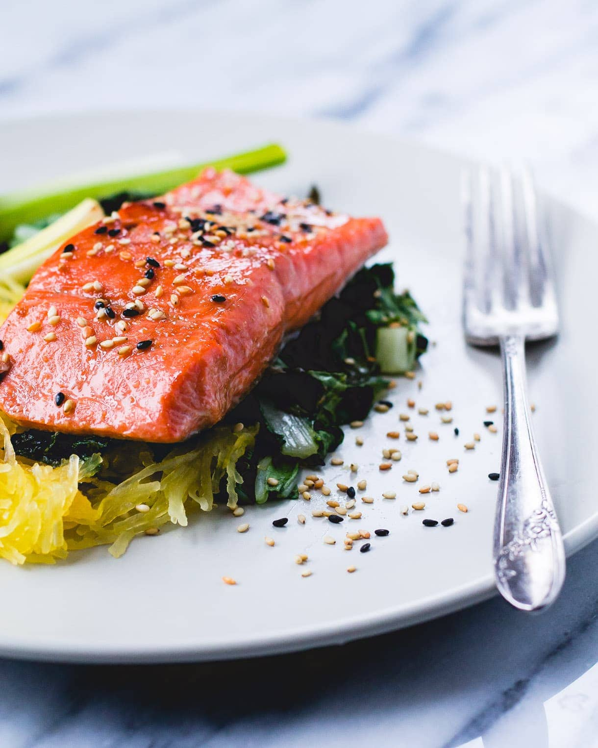 Sesame Salmon with Roasted Spaghetti Squash and Leeks