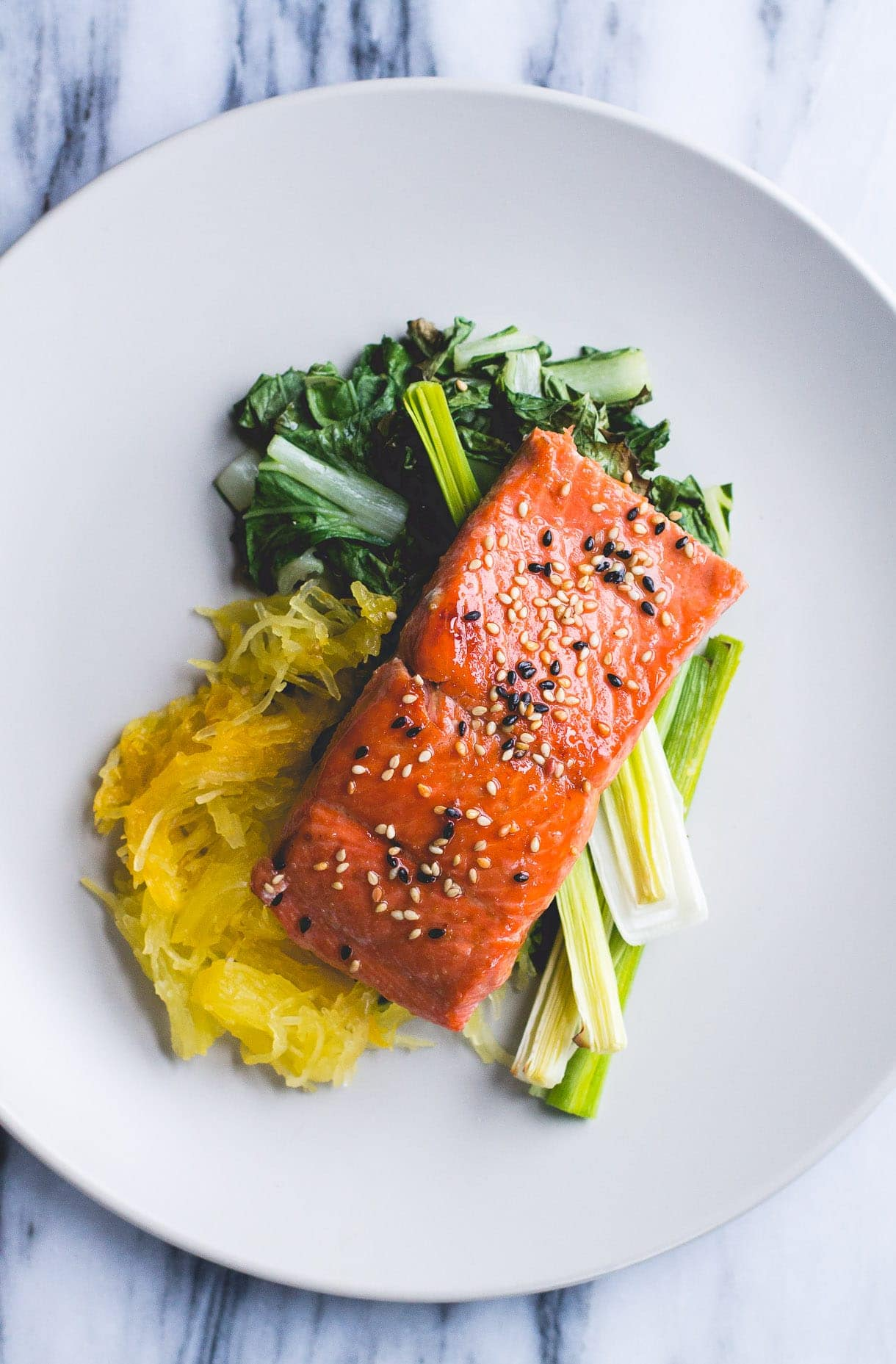 Gluten-Free Sesame Salmon with Roasted Spaghetti Squash and Leeks