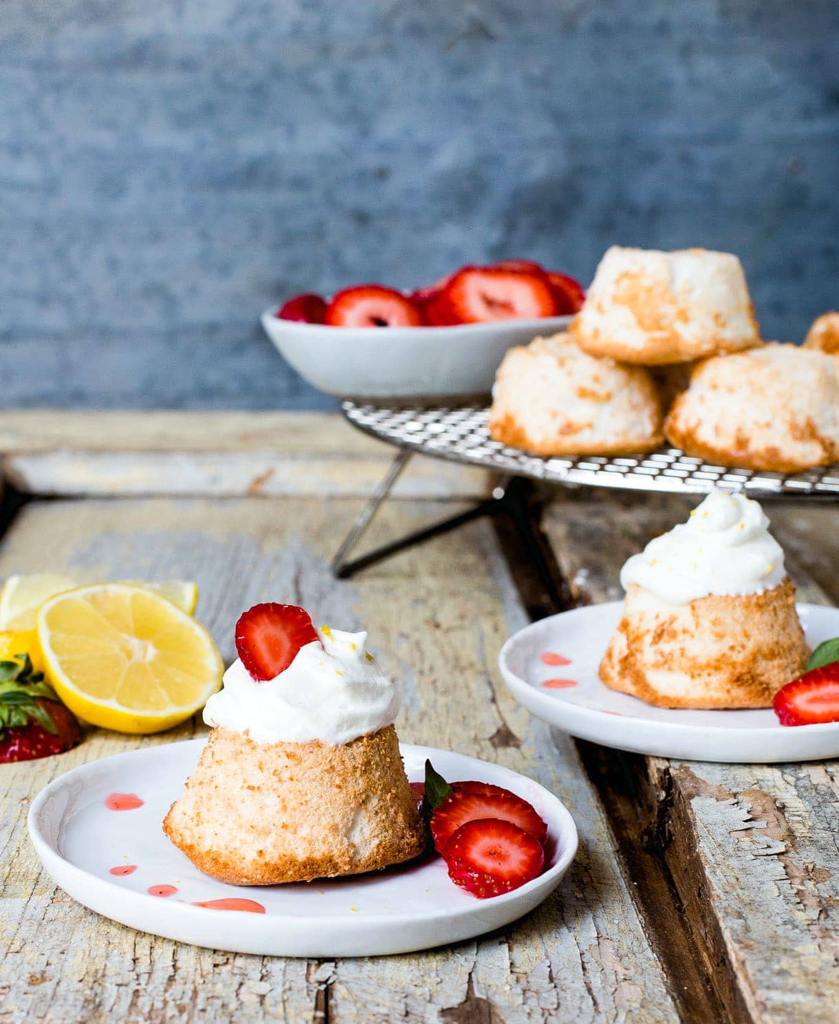 Grain-Free, Gluten-Free Angel Food Cake with Lemon Whipped Cream & Strawberries