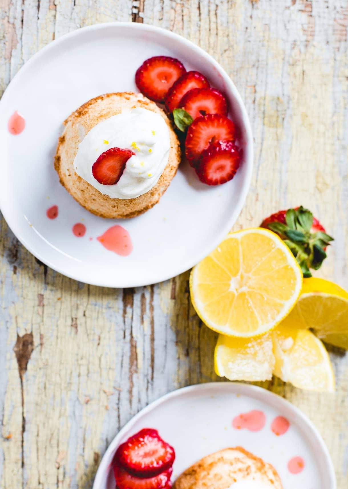 Grain-Free, Gluten-Free Angel Food Cake with Lemon Whipped Cream & Strawberries