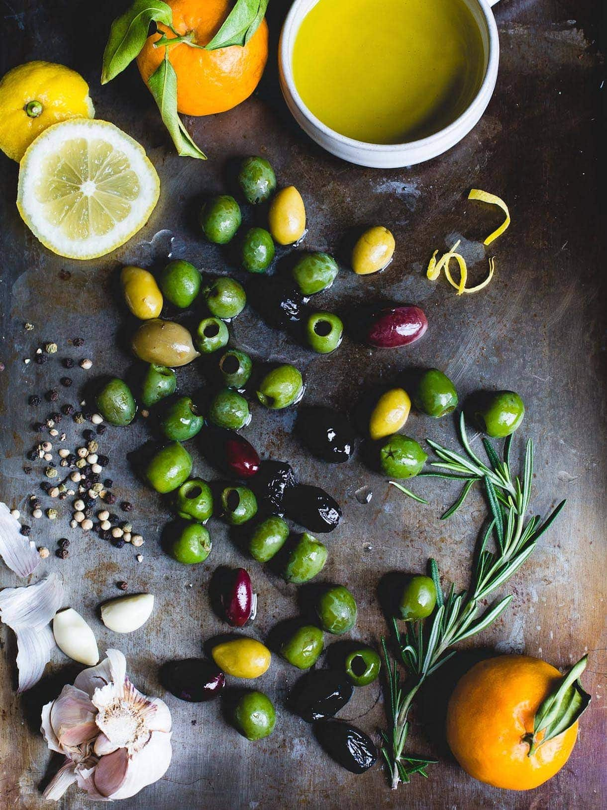 Warm Olives with Citrus, Rosemary, and Gin