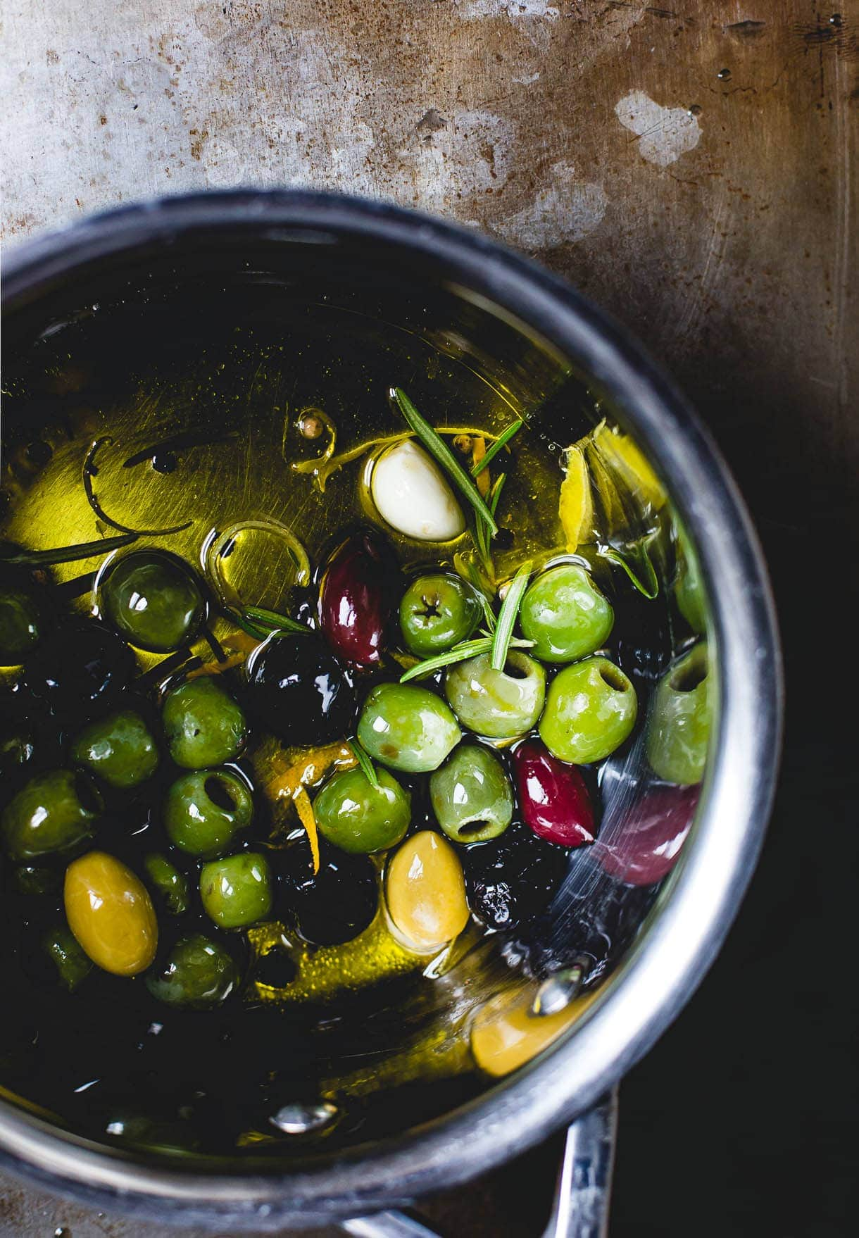 Gin-Infused Warm Olives
